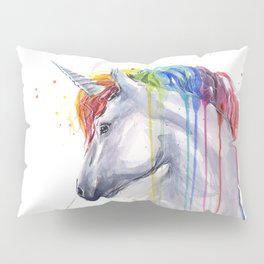 Rainbow Unicorn Watercolor Pillow Sham