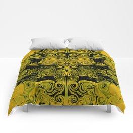 Yellow swirls art Comforters