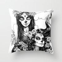 dia de los muertos Throw Pillows featuring Dia de los Muertos by Khaedin