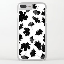 Falling Autumn Leaves in Black and White Clear iPhone Case