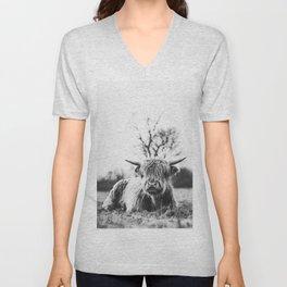 Darn cute Highland cow black and white  Unisex V-Neck