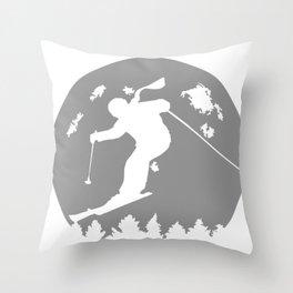 Skiier Moon Moonlight Silhouett Throw Pillow
