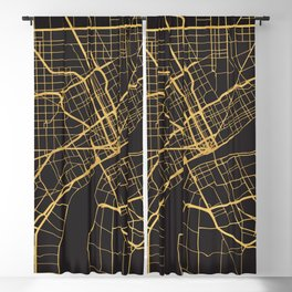 DETROIT MICHIGAN GOLD ON BLACK CITY MAP Blackout Curtain