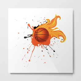 Grunge Flaming Basketball Metal Print
