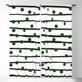 Modern black forest green polka dots stripes Blackout Curtain