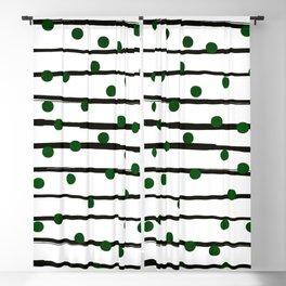 Modern black forest green polka dots stripes Blackout Curtain