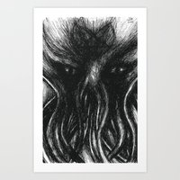 "cthulu Art Prints featuring Cthulu ""He is Risen"" H.P. Lovecraft by Xenomorphic Press"