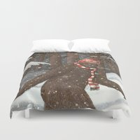 bigfoot Duvet Covers featuring Everyone Gets Cold by Terry Fan