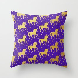 Purple and Gold Unicorn and Stars Pattern Throw Pillow