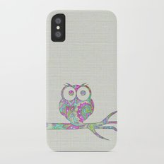 Owl on a branch Slim Case iPhone X