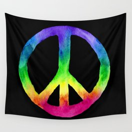 Rainbow Watercolor Peace Sign - Black Background Wall Tapestry