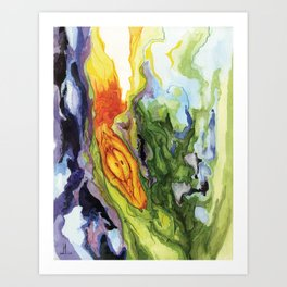 Serpent Seed Twin Birthing Fire Moss Art Print