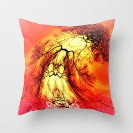 Dancing Tree greeting the Sun Throw Pillow