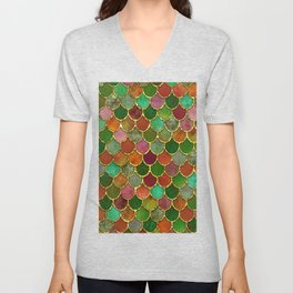 Greens & Gold Mermaid Scales Unisex V-Neck
