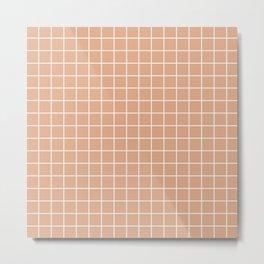 Tumbleweed - pink color - White Lines Grid Pattern Metal Print