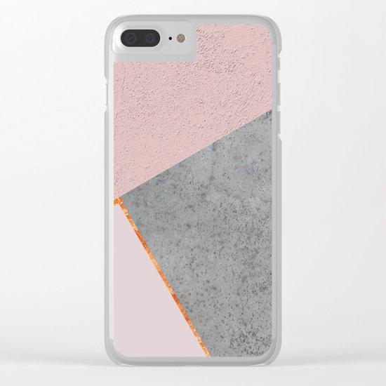 BLUSH GRAY COPPER GEOMETRICAL Clear iPhone Case
