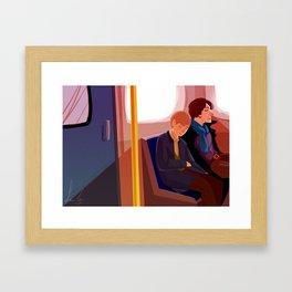 Johnlock on the tube after a case Framed Art Print