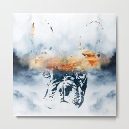 French bulldog and landscape abstract design Metal Print