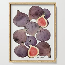 figs still life botanical watercolor Serving Tray