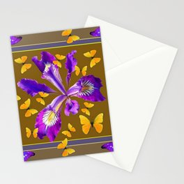 YELLOW & PURPLE BUTTERFLIES PURPLE IRIS PUCE Stationery Cards