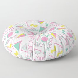 Abstract retro pink teal yellow geometrical 80's pattern Floor Pillow