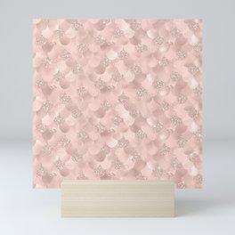 Glam Rose Gold Pink Mermaid Scallops Patterned Mini Art Print
