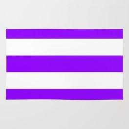 Electric violet - solid color - white stripes pattern Rug