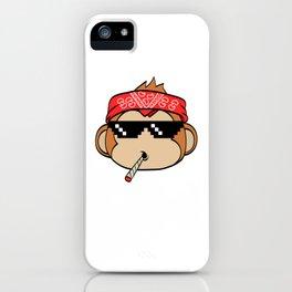 "A Cool Thug Life Tee For Gangster ""Monkey Thug Life"" T-shirt Design Scarf Eyeglasses Smoking Cigar iPhone Case"