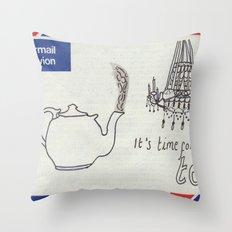 A Parisian, British Tea Throw Pillow
