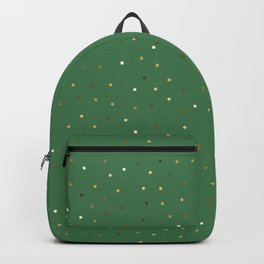Simple Christmas seamless pattern Golden Confetti on Green Background Backpack