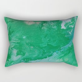 Turquoise & Blue Painted Marble Rectangular Pillow