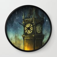 city Wall Clocks featuring Something for the Nerves by Alice X. Zhang