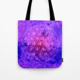 Flower of life Purple and Blue Tote Bag