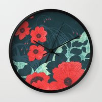 ruby Wall Clocks featuring Ruby by Tracie Andrews