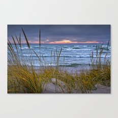 Sunset Photograph of a Dune with Beach Grass at Holland Michigan No 0199 Canvas Print