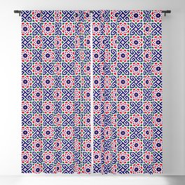 (N2) Red & Blue Original Traditional Moroccan Artwork. Blackout Curtain
