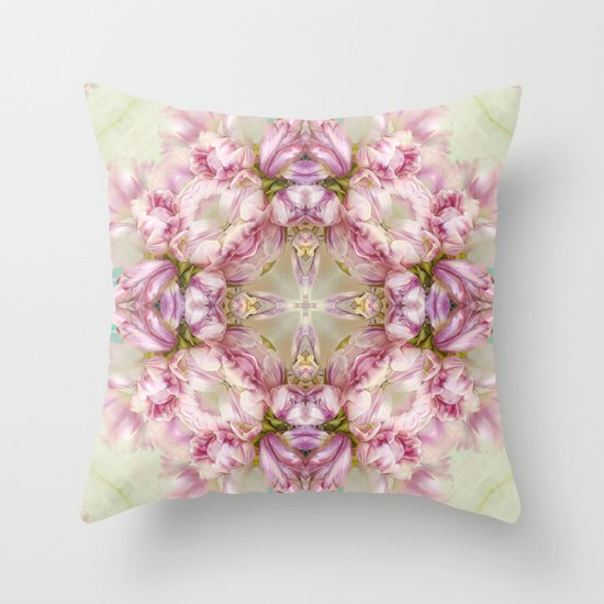 bouquet tulips in blue vase  (pattern/pillow) Throw Pillow