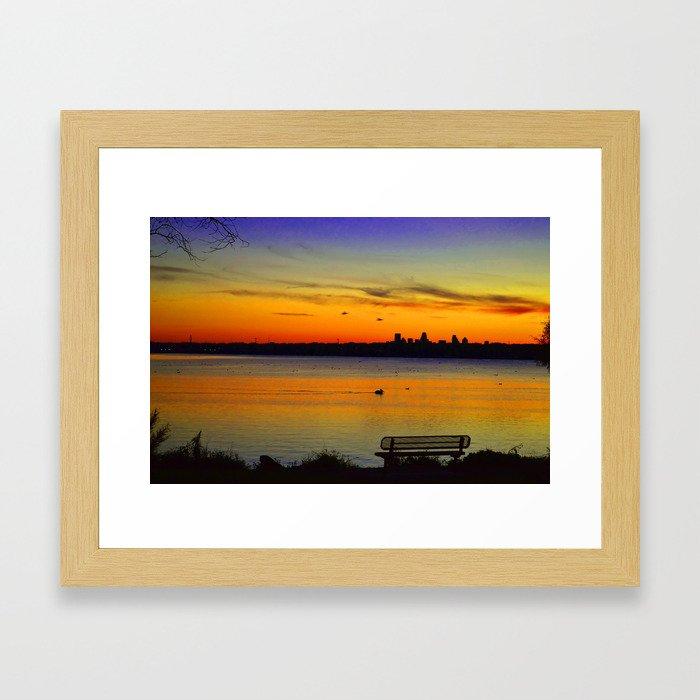 Sunset over White Rock Lake Dallas Framed Art Print