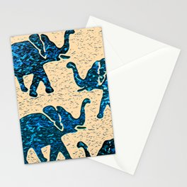 Elephant March Blue Stationery Cards