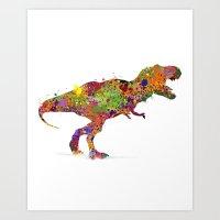 T-rex Watercolor Art Art Print