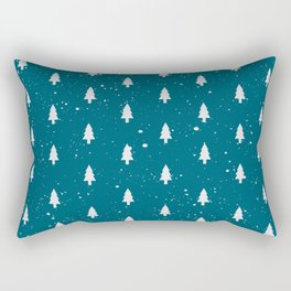 Christmas Trees Pattern Teal Rectangular Pillow