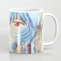 evangelion Mugs featuring Rei Ayanami from Evangelion Digital Mixed Media by Barrett Biggers