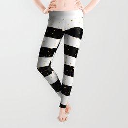 Black white gold faux glitter stripes polka dots  Leggings