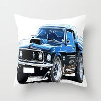 muscle Throw Pillows featuring american muscle  by Vector Art