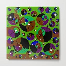 Bubble green black Metal Print
