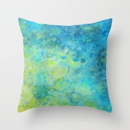 Blue and Yellow Abstract Beach Fizz Throw Pillow