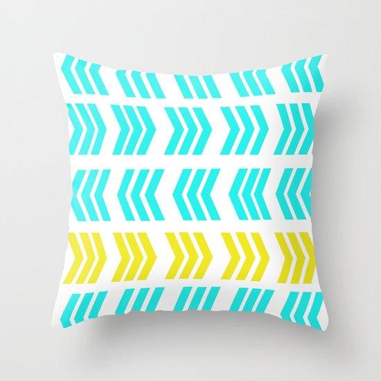 Sunshine Pop and Aqua Zig Zag Throw Pillow