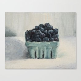blueberries in a paper crate Canvas Print
