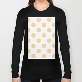 Large Polka Dots - Sunset Orange on White Long Sleeve T-shirt