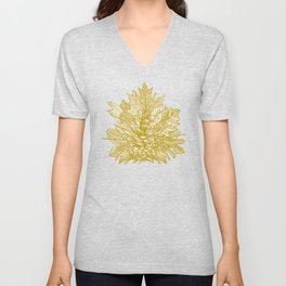 forest floor gold ivory Unisex V-Neck